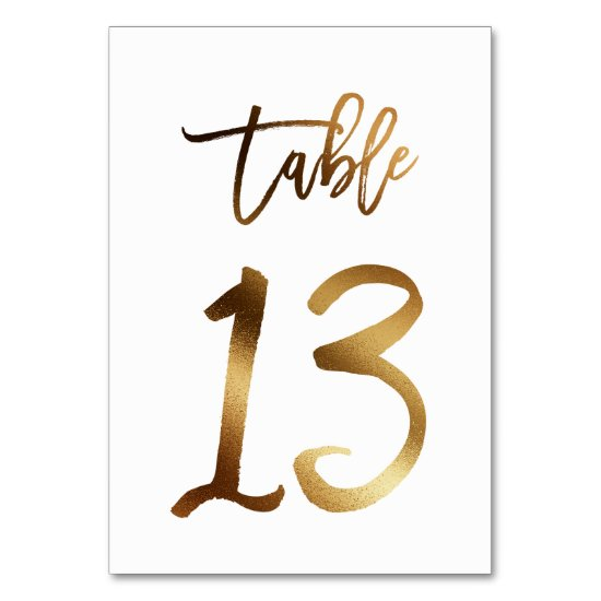 Gold foil chic wedding table number | Table 13