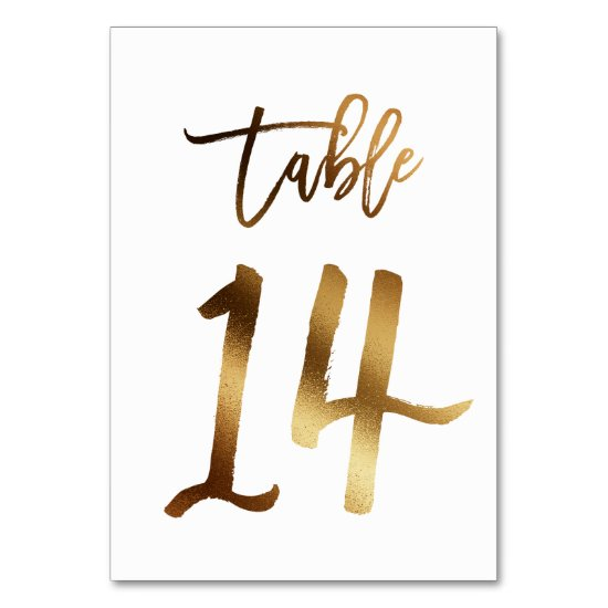 Gold foil chic wedding table number | Table 14