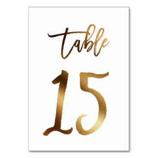 Gold foil chic wedding table number | Table 15
