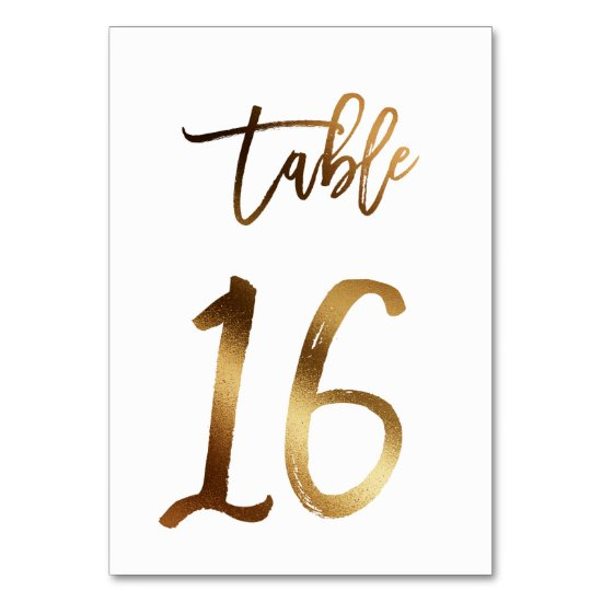 Gold foil chic wedding table number | Table 16