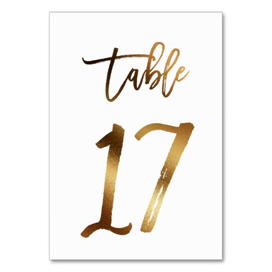Gold foil chic wedding table number | Table 17