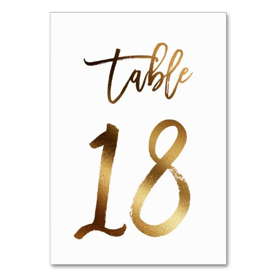 Gold foil chic wedding table number | Table 18