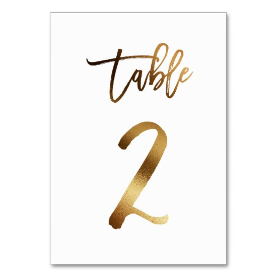 Gold foil chic wedding table number | Table 2