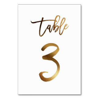 Gold foil chic wedding table number | Table 3