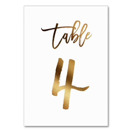 Gold foil chic wedding table number | Table 4