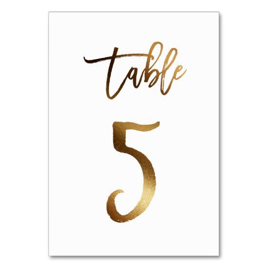 Gold foil chic wedding table number | Table 5