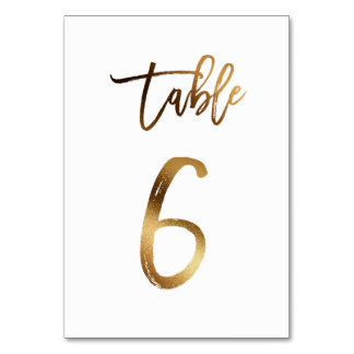 Gold foil chic wedding table number | Table 6