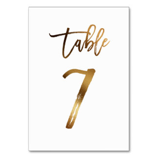 Gold foil chic wedding table number | Table 7