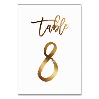 Gold foil chic wedding table number | Table 8
