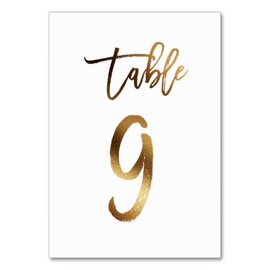 Gold foil chic wedding table number | Table 9
