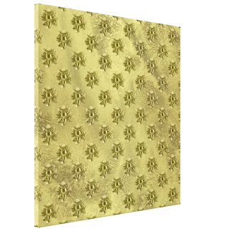 Gold Foil Christmas Paper and Bows Canvas Print