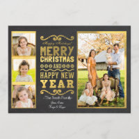 Gold Foil Christmas Photo Card