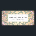 """Gold Foil Circles Confetti Gift Certificate Sage<br><div class=""""desc"""">Stylish,  trendy design of digitally rendered gold leaf circle and colorful confetti pattern on light sage background. There is no foil or textured surface to this design. Ideal for beauty salons,  spas,  cosmetologists,  boutiques,  designers,  hair and fashion stylists or any other image aware professionals.</div>"""