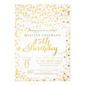 Gold Foil Confetti Birthday Party Custom Invitation