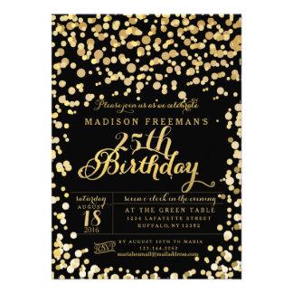 Gold Foil Confetti Black Birthday Party Card