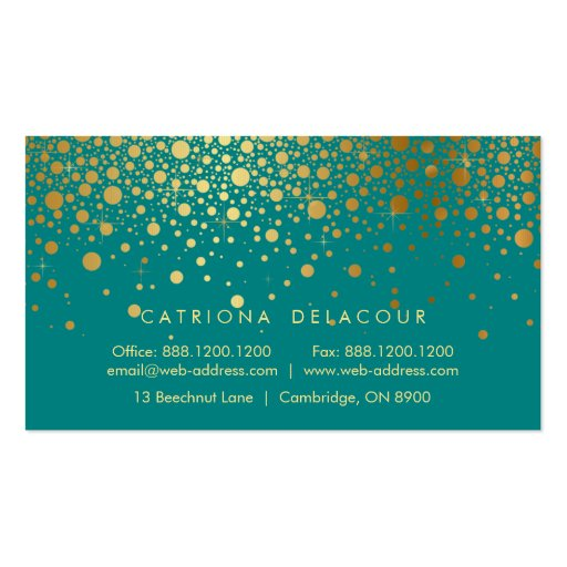 Gold Foil Confetti Business Card | Teal and Gold (back side)