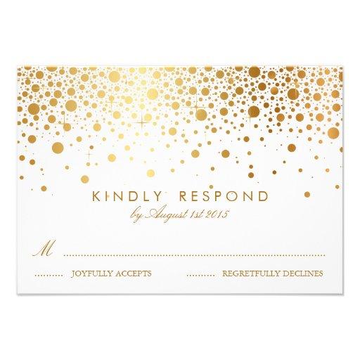 Gold Foil Confetti Dots Elegant Wedding RSVP Card