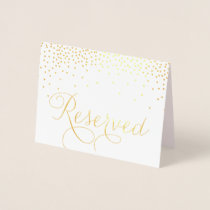 Gold Foil Confetti Dots Reserved Wedding Sign Foil Card