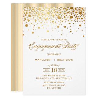 Gold Foil Confetti Engagement Party Invitation
