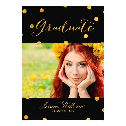 Gold Foil Confetti Graduation Party Announcement