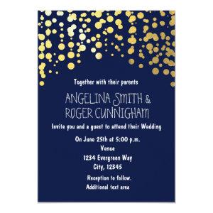 Gold Foil Confetti Navy Blue Wedding Invitation 5
