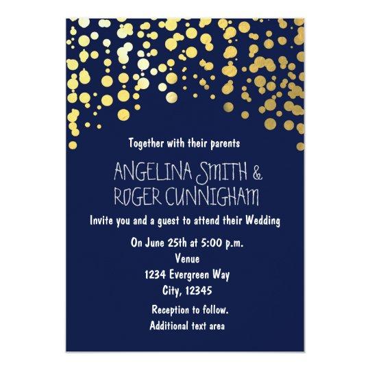 Gold Foil Confetti Navy Blue Wedding Invitation | Zazzle.com