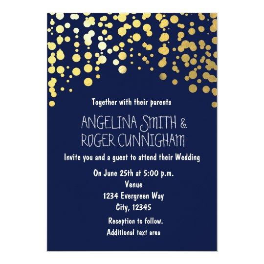 Navy Blue And Gold Wedding Invitations: Gold Foil Confetti Navy Blue Wedding Invitation
