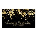 Gold Foil Confetti On Black Business Card