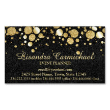 Gold Foil Confetti On Black Magnetic Business Card Magnetic Business Cards