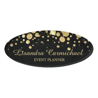 Gold Foil Confetti On Black Oval Name Tag