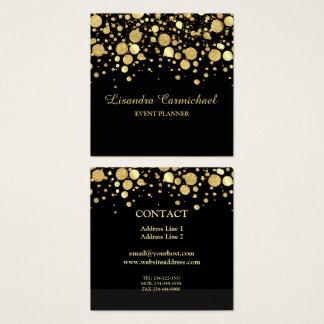 Gold Foil Confetti On Black Square Business Card