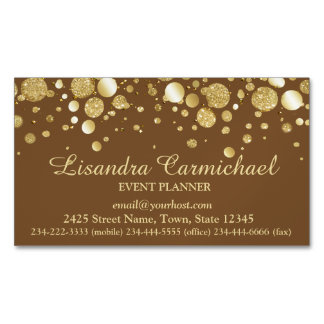 Gold Foil Confetti On Brown Magnetic Business Card