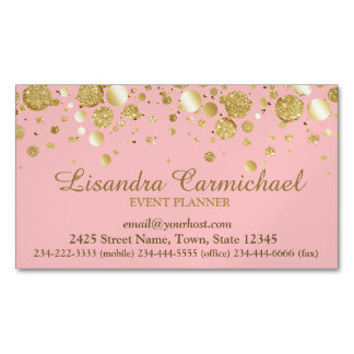 Gold Foil Confetti On Pink Magnetic Business Card