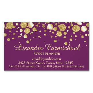 Gold Foil Confetti On Plum Magnetic Business Card