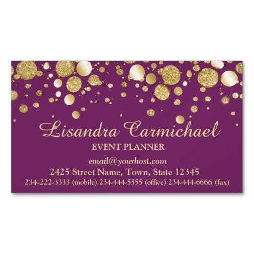 Gold Foil Confetti Plum Magnetic Business Card