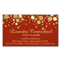Gold Foil Confetti On Red Magnetic Business Card Magnetic Business Cards