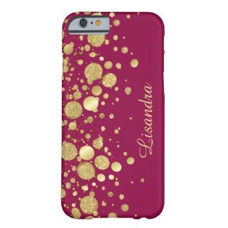 Gold Foil Confetti On Wine Pink iPhone 6 Case
