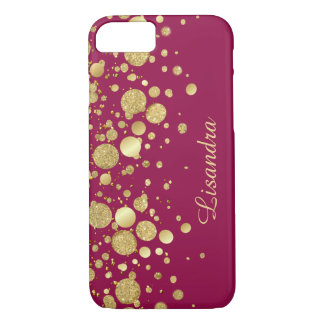 Gold Foil Confetti On Wine Pink iPhone 7 Case