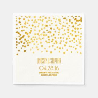 gold foil confetti wedding napkin