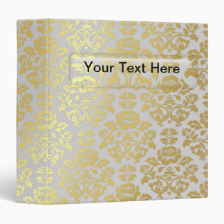 Gold Foil Damask and Glass Name Plate Binder