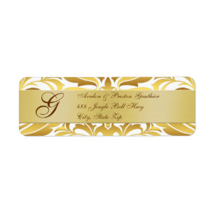gold foil damask monogram new years address labels