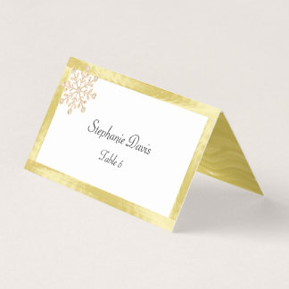 Gold Foil, Diamond Rose Gold Snowflakes Place Card