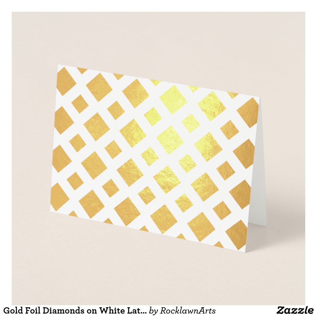 Gold Foil Diamonds on White Lattice Foil Card