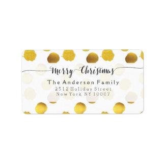 Gold foil dots address label