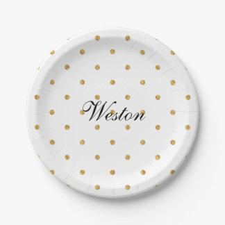 Gold Foil Dots Metallic Monogram Entertaining Paper Plate