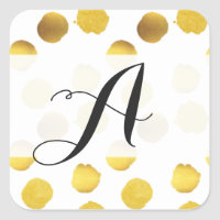 Gold foil dots monogram Stickers