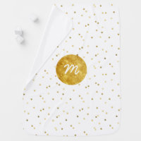 gold foil dots monogram swaddle blanket