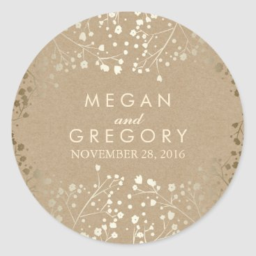 Toddler & Baby themed Gold Foil Effect Baby's Breath Kraft Wedding Classic Round Sticker
