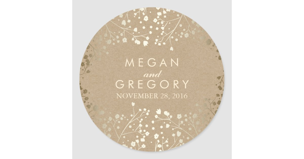 Gold foil effect babys breath kraft wedding classic round sticker zazzle com