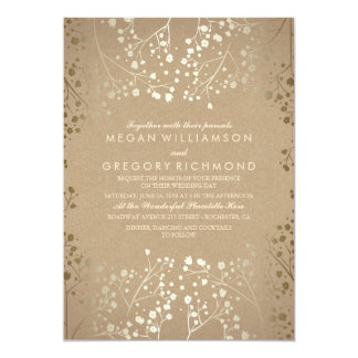 Gold Foil Effect Baby's Breath Wedding Invitations